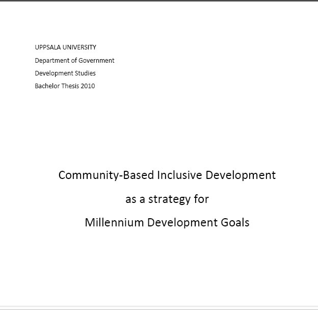 Community-Based Inclusive Development as a strategy for Millennium Development Goals