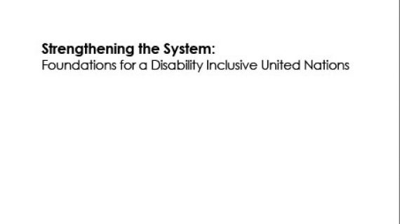 Foundations for a Disability Inclusive United Nations